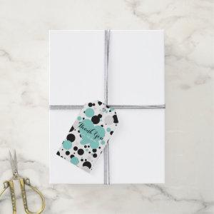 Teal Blue Polka Dots Glam Party Thank You Gift Tags
