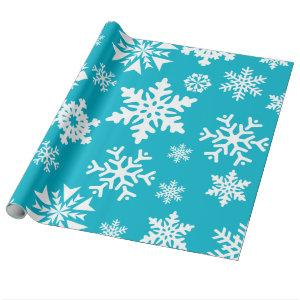 Teal Blue Snowflakes Christmas Holiday Gift Wrap