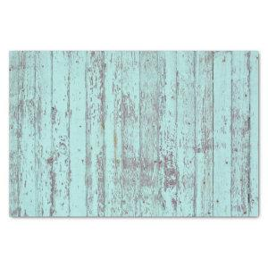 Teal Distressed Rustic Wood Tissue Paper