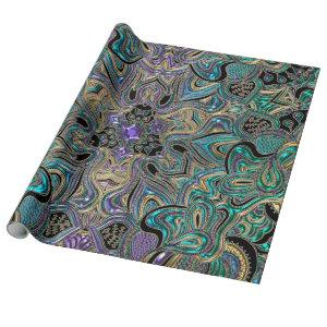 Teal Gold Purple Black Mandala Wrapping Paper