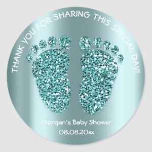 Teal Gree Glitter Feet Baby Shower Favor Thank You Classic Round Sticker