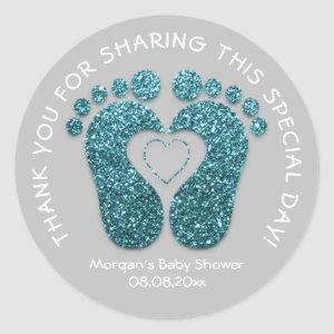 Teal Heart Feet Baby Shower Favor Thank Teal Gray Classic Round Sticker
