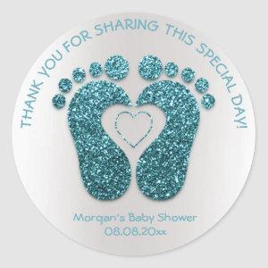 Teal Heart Feet Baby Shower Favor Thank You Gray Classic Round Sticker