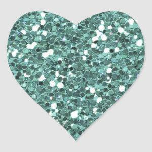 TEAL LIGHT GLITTER SHAPES COLOR SOLID BACKGROUND W HEART STICKER