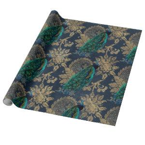 Teal Peacocks on Blue and Gold Wrapping Paper