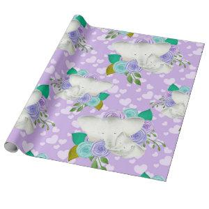 TEAL/PURPLE FLOWERS AND MAMA/BABY ELEPHANT WRAPPING PAPER