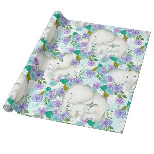 TEAL/PURPLE FLOWERS MAMA/BABY ELEPHANT WRAPPING PAPER