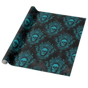 Teal Skull and Dark Grey Gothic Wrapping Paper