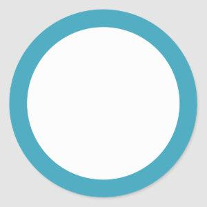 Teal solid color border blank classic round sticker