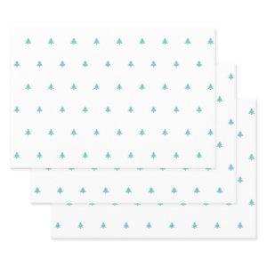 Teal/White Christmas Tree Simple Iconic Pattern  Sheets