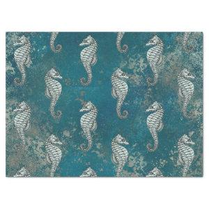 Teal with White Seahorse Decoupage Tissue Paper
