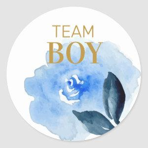 Team Boy gender reveal floral watercolor Classic Round Sticker