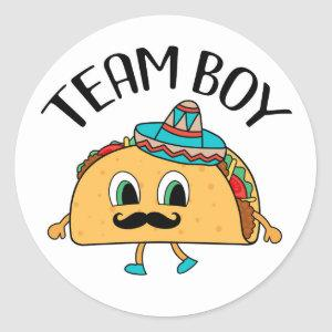 Team Boy Taco themed gender reveal party stickers