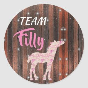 """Team Filly"" Pink Gender Reveal Classic Round Sticker"