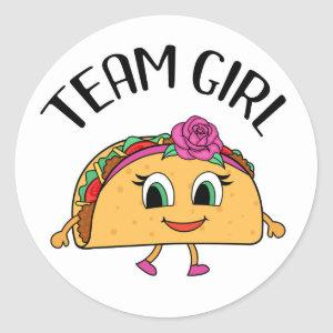 Team Girl Taco themed gender reveal party stickers