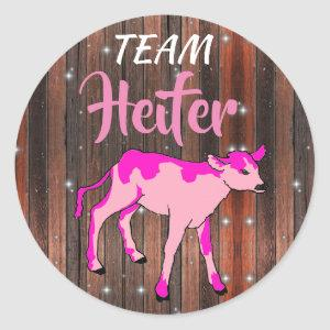 """Team Heifer"" Pink Gender Reveal Classic Round Sticker"