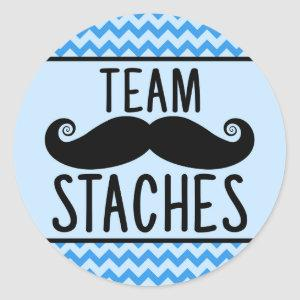 Team Staches gender reveal stickers