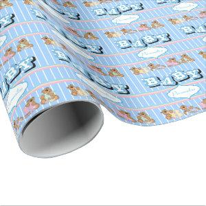 Teddy Bears in Blue  | Personalize Wrapping Paper