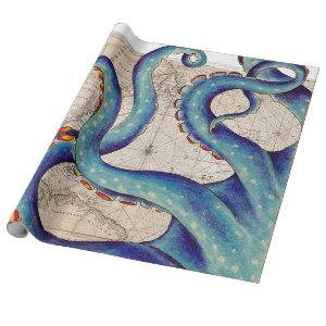 Tentacles dark blue Map Vintage Wrapping Paper