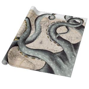 Tentacles Grey Map Vintage Wrapping Paper