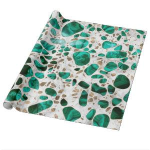 Terrazzo - Malachite and gold on marble #1 Wrapping Paper