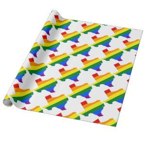 Texas LGBT Flag Map Wrapping Paper