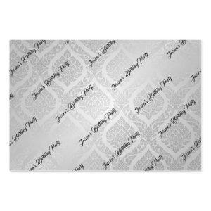 Thai Pattern Birthday Party Gift Elegant Silver Wrapping Paper Sheets