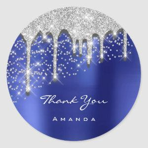 Thank Name 16th Bridal Black Glitter 3D Royal Blue Classic Round Sticker