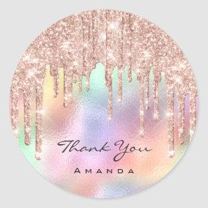 Thank Name 16th Bridal Rose Holographic Classic Round Sticker
