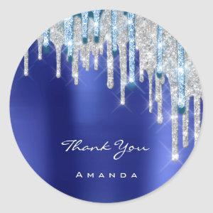 Thank  Name 16th Bridal Silver Glitter Royal Blue Classic Round Sticker
