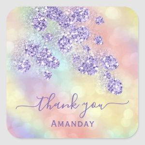Thank Name Holograph Floral Glitter Dusty Lavender Square Sticker