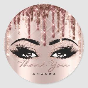 Thank Scrip Name 16th Bridal Rose Eyelash 3D drips Classic Round Sticker