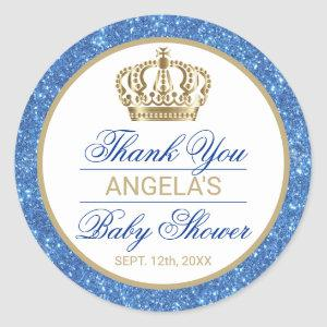 Thank You Blue Prince Gold Crown Baby Shower Classic Round Sticker