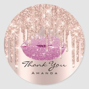 Thank You Bridal  16th Pink Rose Glossy Lips Classic Round Sticker