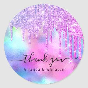 Thank You Bridal Sweet16th Glitter Holograph Drips Classic Round Sticker