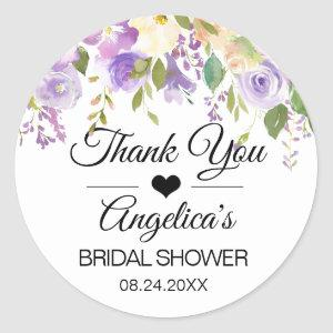 Thank you Floral Lavender Lilac Wedding Bridal Classic Round Sticker