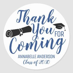 Thank You For Coming Blue Graduation Party Favor Classic Round Sticker