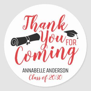 Thank You For Coming Red Graduation Party Favor Classic Round Sticker