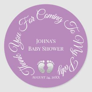 Thank You For Coming To My Party Baby Shower Purpl Classic Round Sticker