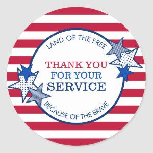 Thank You for Your Service Veterans Stars Stripes Classic Round Sticker