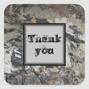 Thank You Marbled Driftwood Nature Appreciation Square Sticker