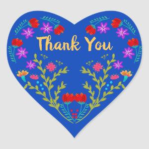 Thank You Mexican Fiesta Royal Blue Quinceanera Heart Sticker
