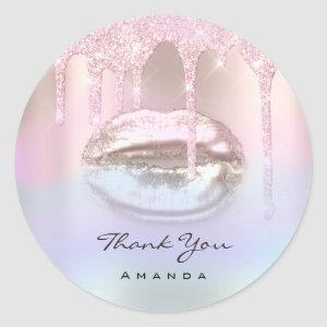 Thank You Name16th Bridal Pink Holograph Kiss Lips Classic Round Sticker