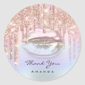 Thank You Name16th Bridal Rose Holograph Kiss Lips Classic Round Sticker