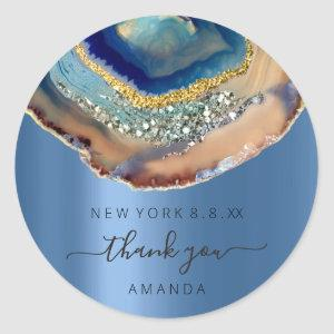 Thank You Name 16th Bridal Agate Glitter Blue Navy Classic Round Sticker
