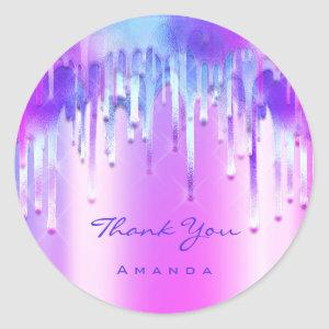 Thank You Name 16th Bridal Holographic 3D Drips Classic Round Sticker