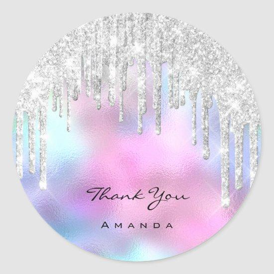 Thank You Name 16th Bridal Ombre Glitter Pink Classic Round Sticker