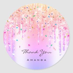 Thank You Name 16th Bridal Pink Glitter Confetti Classic Round Sticker