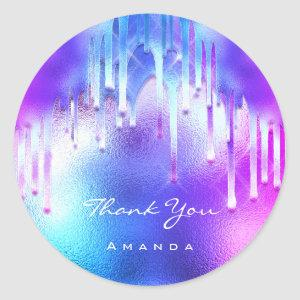Thank You Name 16th Bridal Pink Holographic Drips Classic Round Sticker
