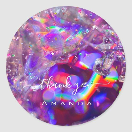 Thank You Name 16th Bridal Purple Crystals Rainbow Classic Round Sticker